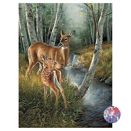 LIPHISFUN DIY 5D Diamond Painting by Number Kit for Adult, Full Round Resin Beads Drill Diamond Embroidery Dotz Kit Home Wall Decor,30x40cm,Forest Deer River