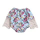 LOliSWan Baby Girl's Floral Print Ruffles Romper Summer Clothes With Headband (Blue, 0-6 Months)