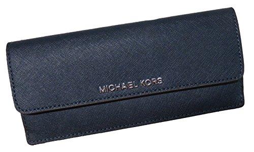 Michael Kors Jet Set Travel Flat Saffiano Leather Wallet Navy/Steel Blue