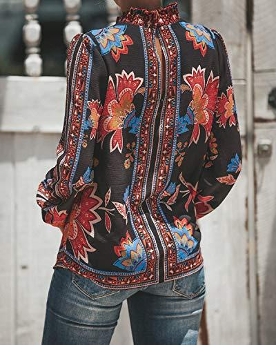 Casual Manica Camicie Donne a Lunga Moda Simple Nero Bluse Giovane Maglietta Shirt Fashion e Tops Autunno Primavera Cime Maglie IxgXOZ
