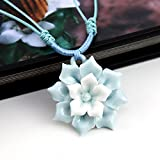Libaraba Elegant Blue and White Flower Ceramic Pendant Necklace Exquisite Necklace