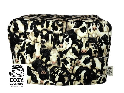 CozyCoverUp toaster cover for 2 slice toaster Crowded Cows pattern 100% Cotton