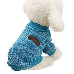 Mikey Store Pet Dog Clothes Soft Thickening Warm Stripe Polar Fleece Winter Clothes (Blue 1, M)