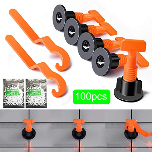 (TEAMWIN 50pcs Tiles Leveler Spacers Tile Leveling System with Special Wrench Reusable Spacer Flooring Level Tile levellers Set System Construction for Builing Walls & Floors (black1))