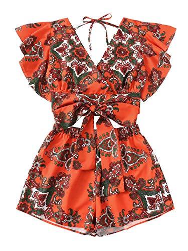 SweatyRocks Women's 2 Piece Boho Butterfly Sleeve Crop Top with Shorts Set Orange S ()
