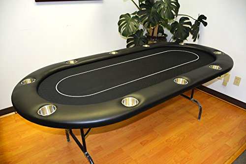 84'' 10 player poker table 10 large cup holders black cloth by MRC by Mrc Poker