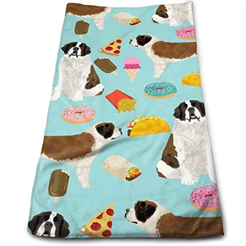 Saint Bernard Dog Dogs And Junk Food Designs Tacos Fries Donuts Hand Towels Dishcloth Floral Linen Hand Towels Super Soft Extra Absorbent for Bath,Spa and Gym 11.8