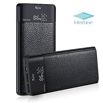Mezone Phone Power Bank Portable Charger 10000mAh Quick Charge 3.0 Portable Phone Charger with 2-USB Ports, LCD Digital Screen for iPhone, iPad, Smart Phone(Black)