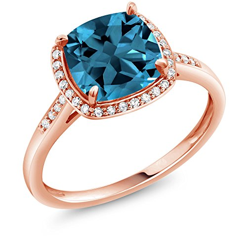- Gem Stone King 2.74 Ct Cushion London Blue Topaz 10K Rose Gold Engagement Ring with Diamond Accent (Size 5)
