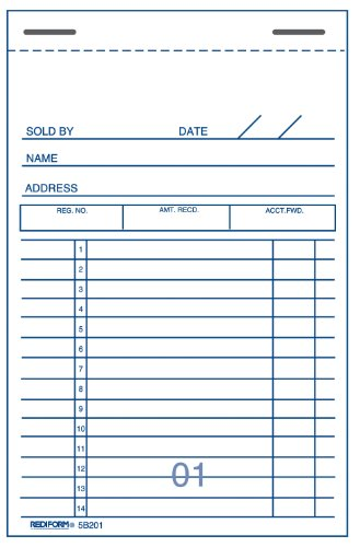 Rediform Sales Order Book, Carbon,  2 Part, 3.375 x 5 Inches, 50 Forms (5B201) - Rediform Sales Receipt Book