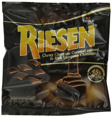 RIESEN Chewy Dark Chocolate Caramel Candy, 2.65-Ounce (Pack of 12), Individually Wrapped Candy, Bulk Candy, Chocolate Candy, Bag of Candy, Sweets for Home, Road Trips or Parties, Great Gift Idea]()