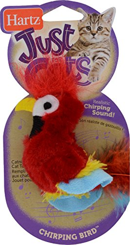 HARTZ Just For Cats Chirping Bird Plush Catnip Cat Toy (Colors/Styles Vary)