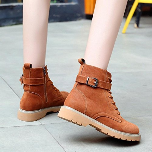 Boots Toe Round Amlaiworld Women Shoes Brown Martin Lace Boots Casual Leather Zip Women Flat up vHHpBfq