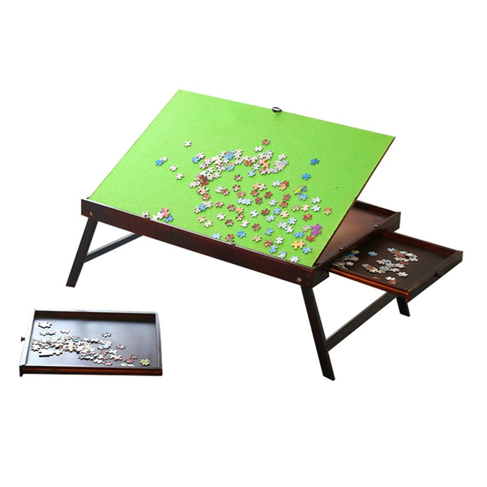 Wooden Jigsaw Puzzle Table for Adults & Kids, Jigsaw Puzzle Table Storage Tilting Folding Table Drawer, Portable Table for Puzzle Games with 2 Storage Drawers & Cover, Multifunction Table-1000 Pcs by Shougui
