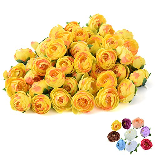 Sundlight Silk Cloth Camellia Bud Flower Head Handmade Artificial Flowers for Wedding Party Home Decoration-Yellow