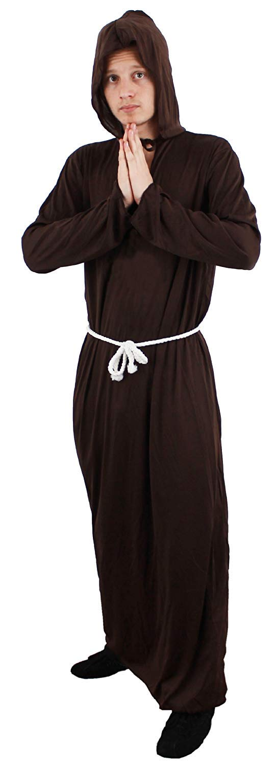 MONK COSTUME ROBE CROSS AND WIG FANCY DRESS MEDIEVAL HABIT FRIAR TUCK RELIGIOUS