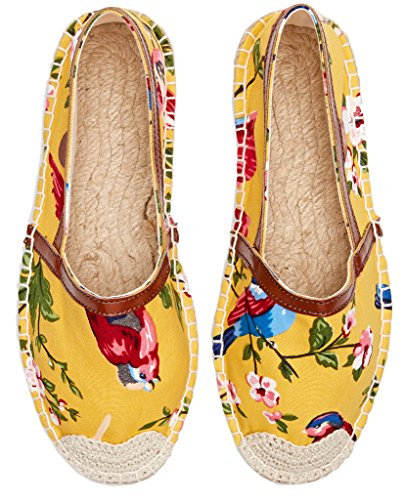 Espadrilles Foral Imprimé Jacquard U-lite Femme Chaussures Slip-on Jaune Imprimé