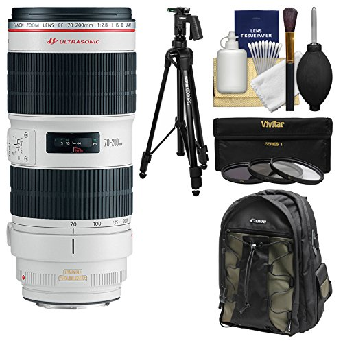 Canon EF 70-200mm f/2.8 L IS II USM Zoom Lens with Canon Backpack + Pistol-grip Tripod + 3 UV/CPL/ND8 Filters + Kit by Canon