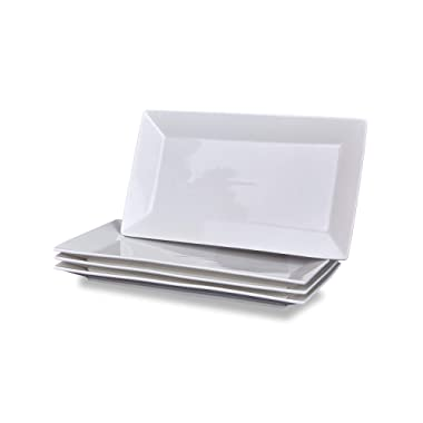 Klikel 4 Serving Platters | Classic White Plate | Serving Trays For Parties | Microwave And Dishwasher Safe - 6.5 X 14 Inch