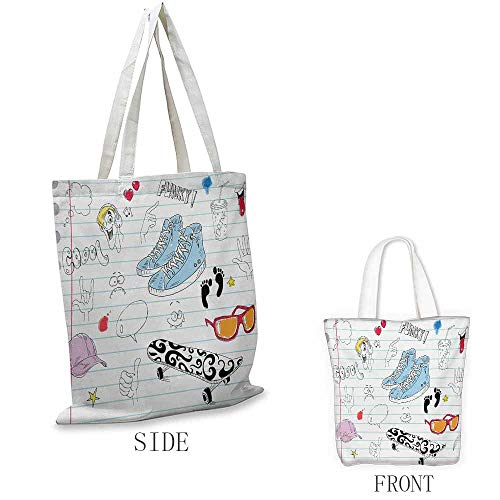 Doodle Shopping bags can be reused Notebook Design with a Variety Drawings Funky Skateboard Shooting Star Used as a grocery bag in the market W15.75 x L13.78 Inch Black Pale Blue Ginger