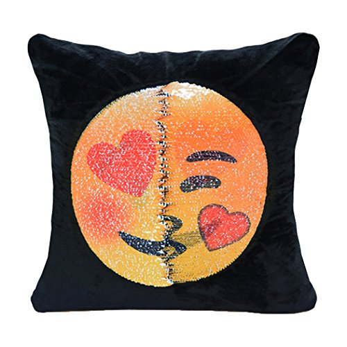 Emoji Sequin Pillow Case, Magic Presents Decorative Pillow Cover GUIGU Velvet Double Sided Reversible Mermaid Sequins Cushion Covers for Sofa Room Decor (Lewd and Kiss)