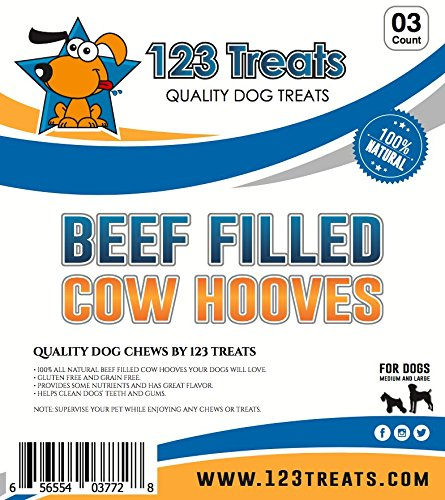 123 Treats - Filled Cow Hooves - Delicious Beef Flavor Chews (3 Count) Natural Dog Dental Treats | Beef Hoof by 123 Treats (Image #2)