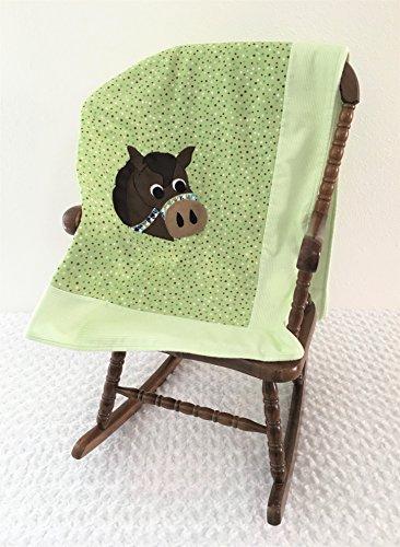 Small Green Horse Applique Blanket
