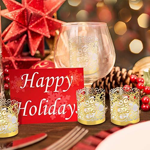 LOVEINUSA 48pcs Votive Wraps, Golden Tea Light Covers Laser Cutting for Decorative Wraps Flickering LED Battery Tealight Candles