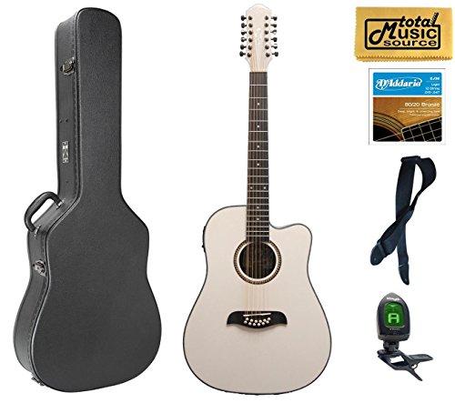 Oscar Schmidt OD312CEWH 12-Strings A/E Guitar - White, Case Bundle, OD312CEWH CASEPACK (Schmidt 12 Oscar String)