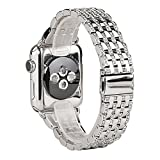 KOBWA Apple Watch Band, 42mm Alloy Crystal Rhinestone Diamond Watch Band Luxury Stainless Steel Replacement Band Strap for Apple Watch All Models
