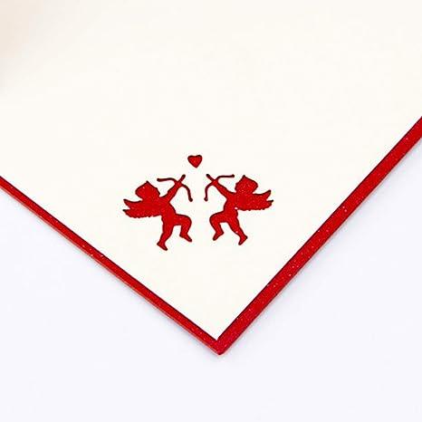 SPDYCESS Biglietti di Auguri Fidanzata Congratulazioni Cupido Cartolina Dauguri Pop-Up 3D Carta Romantica Fatta Mano Carta Regalo Fidanzamento Invito Nozze San Valentino con Busta per Fidanzato