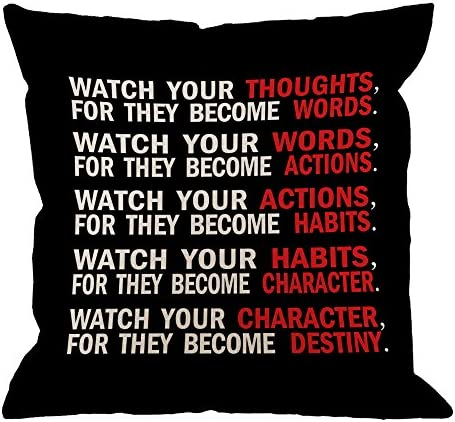 Hgod Designs Quote Pillow Cover Watch Your Thoughts Motivational Words Quotes Cotton Linen Cushion Cover Square Standard Home Decorative Throw Pillow For Men Women 18x18 Inch Black White Red Home Kitchen Amazon Com