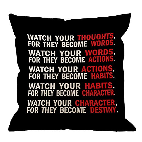 Cheap  HGOD DESIGNS Quote Pillow Cover, Watch Your Thoughts Motivational Words Quotes Cotton..
