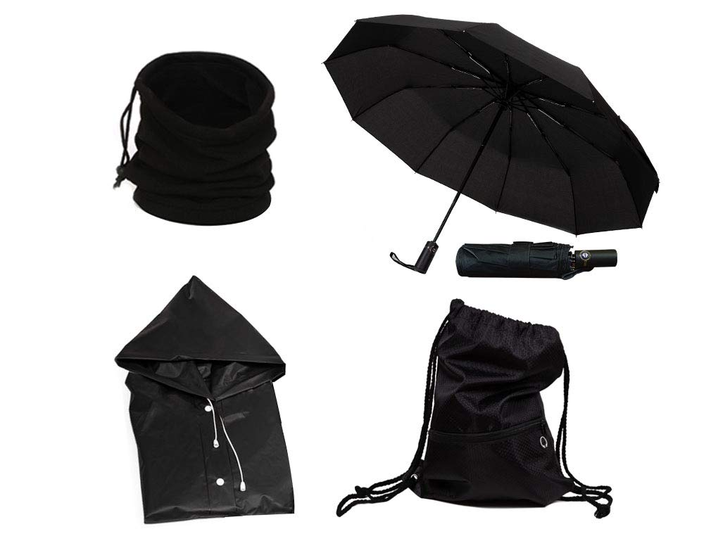 Windproof Travel Umbrella, Waterproof Rain Coat, Neck Warmer, All in One Winter Kit