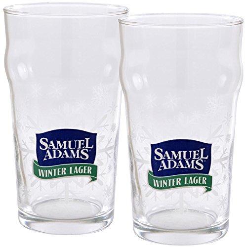 Lager Pint Glass (Samuel Adams Winter Lager Pint Glasses - Set of 2)