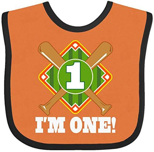 Inktastic - 1st Birthday Baseball Party Boys Baby Bib Orange and Black 33765