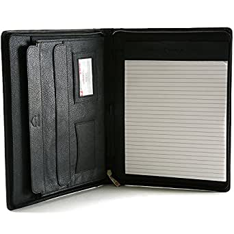 Alpine Swiss Leather Portfolio, Writing Pad, Presentation Folder Business Case Comes in a Gift Bag. Note Pad can be inserted / adjusted both for a Right or Left Handed writer - Folder Flap perfect to carry an iPad in