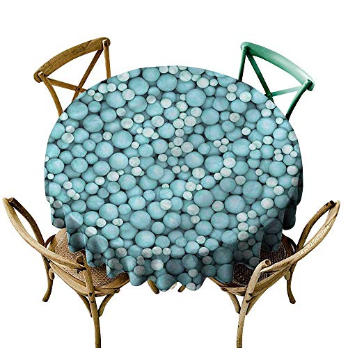 - Luunins Round Tablecloth Cotton Turquoise,Marbles and Balls Pattern D54,for Bistro Table
