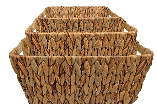 Thehomemind Bamboo Natural Woven Rectangular Water Hyacinth Baskets | Food Storage | Home Decor & Bathroom Accessories | Coffee Table Organizer | Natural Color (set of 3) (Water Table Hyacinth Coffee)