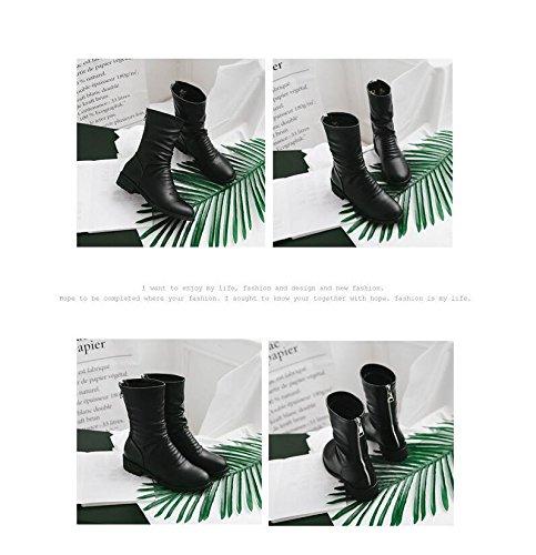 ZQ@QX Herbst und Winter runden Kopf mit Fett Fett Fett mit stilvoll minimalistisch und vielseitig Reißverschluss kurze Stiefel weibliche Stiefel cc1cc6
