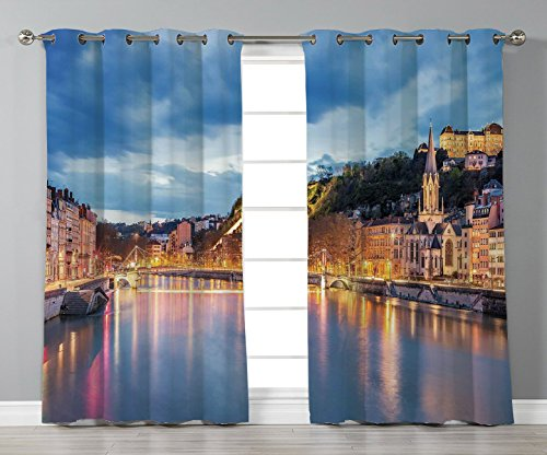 Thermal Insulated Blackout Grommet Window Curtains,European,View of Saone River in Lyon City at Evening France Blue Hour Historic Buildings,Multicolor,2 Panel Set Window Drapes,for Living Room Bedroom -