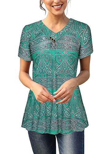 Women Vintage Short Sleeves Printed Tee Top Sexy V Neck Buttons Tunic Blouse Blue M ()