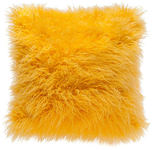 Chanasya Soft Shaggy Fuzzy Fur Long Mangolian Faux Fur Cozy Elegant Chic Decorative Yellow Throw ...