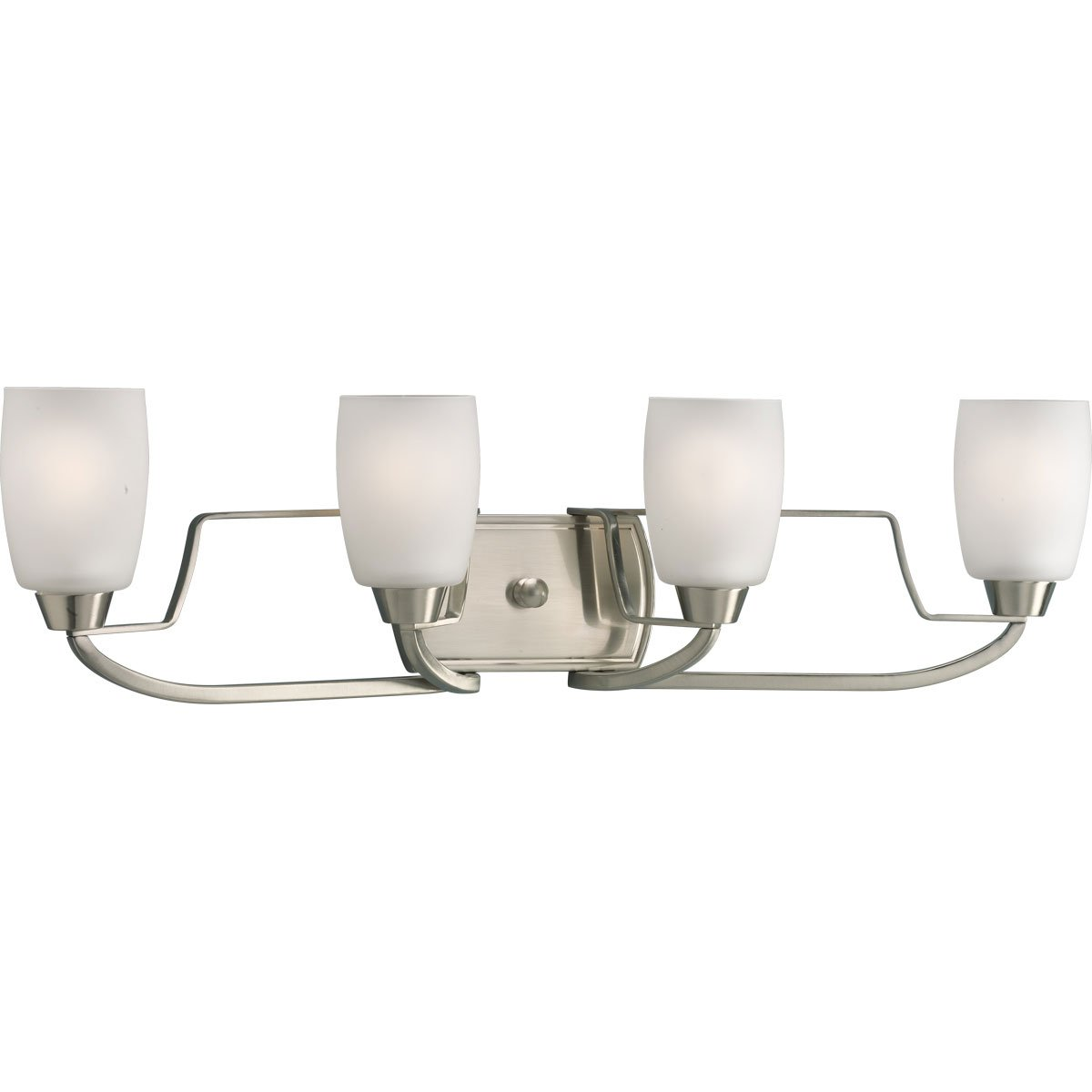 Progress Lighting P2797-09 4-Light Bath Bracket with White Opal Glass, Brushed Nickel