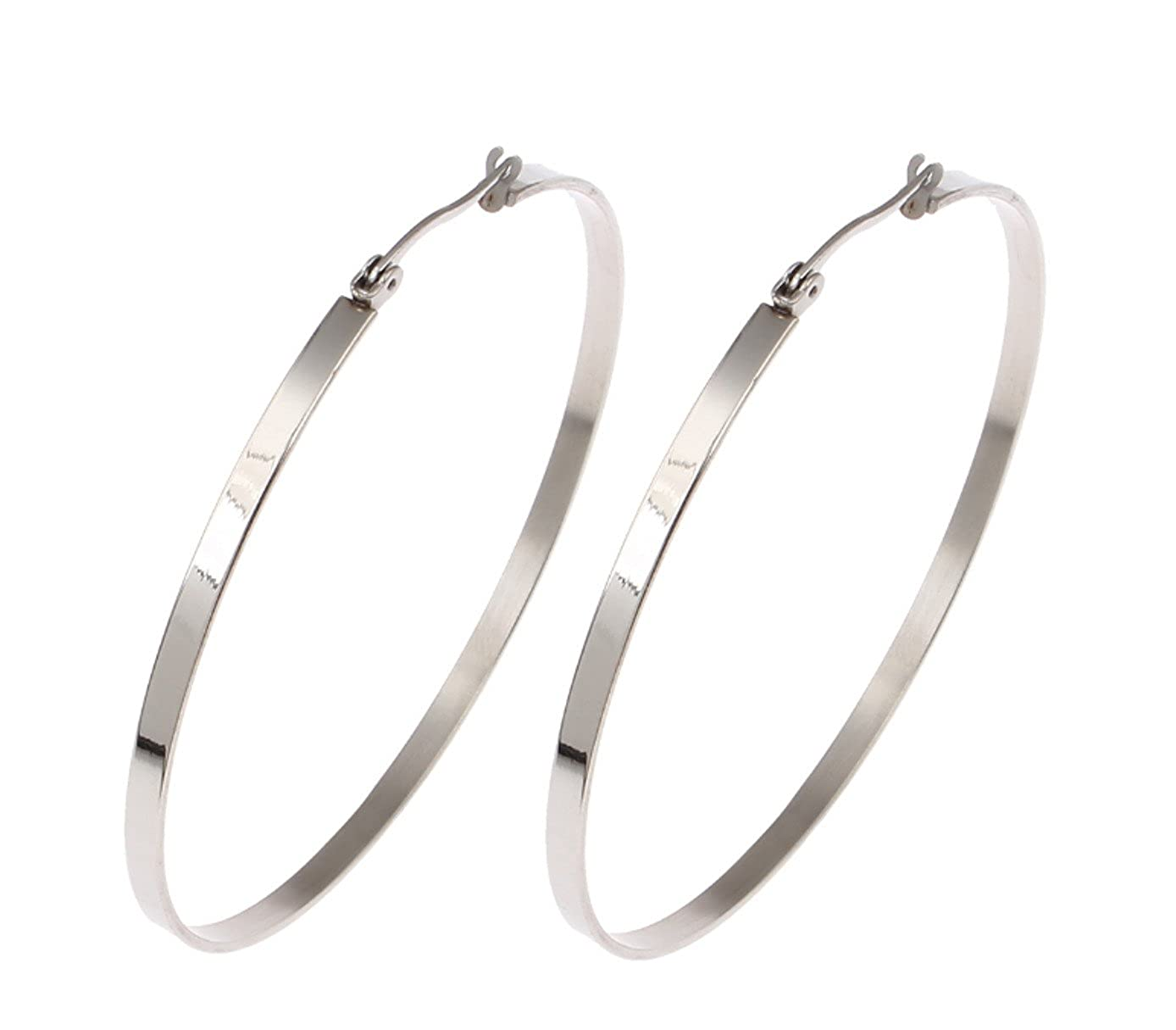 Silver Polished Stainless Steel 3mm x 53mm Flat Band Clicktop Hoop Earrings