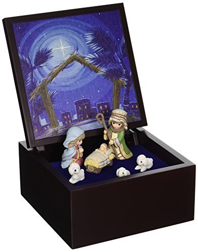 "Precious Moments, Christmas Gifts, ""Heirloom Nativity Set Deluxe Music Box"", LED Stars, Plays Silent Night, - Music Box Nativity"