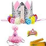 2 Pcs Adorable Cute Crown Shaped Cat Dog Pet 1 Year Birthday Headband and Pink Star Hair Head Bands Accessories for Dogs Cats Pets (Silvery)