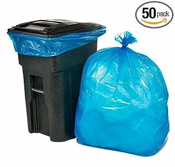 Amazon.com: plasticplace 65 Galón Azul Bolsas de basura, 50 ...
