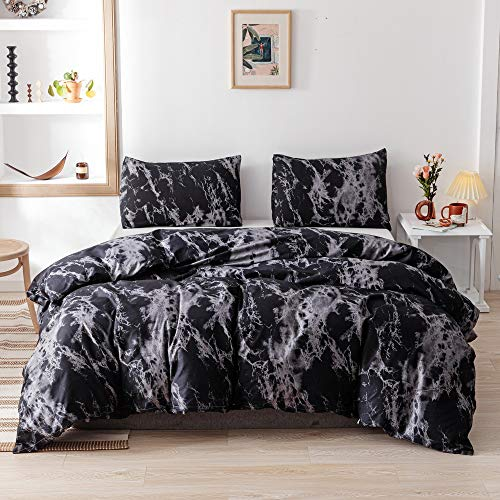Smoofy King Comforter Set, Black Marble Pattern Printed Bed Comforter, Soft Fabric with Brushed Microfiber Fill Bedding(1 Comforter, 2 Pillow Shams)