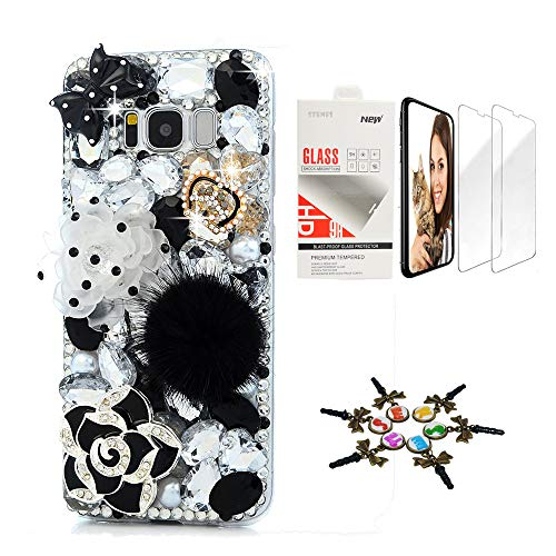 STENES Galaxy S10 Plus Case - STYLISH - 3D Handmade Sparkle Series Bling Polka Dot Rose Crown Flowers Floral Cover Compatible with Samsung Galaxy S10 Plus 6.4 Inch with Screen Protector 2 Pack - Black